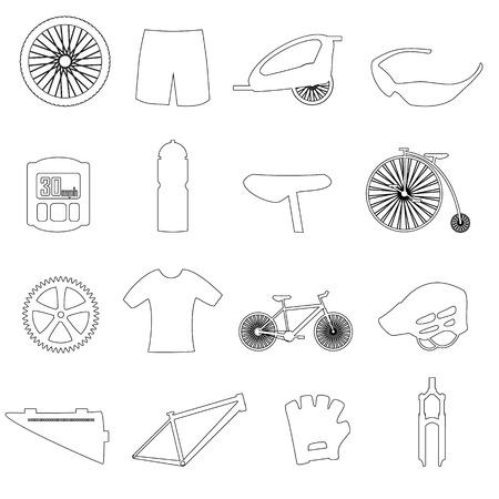 biking glove: black outline cycling theme icons set eps10