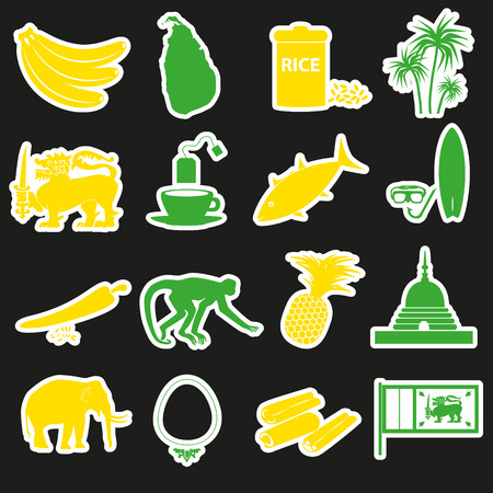 curry rice: Sri-lanka country symbols color stickers set eps10