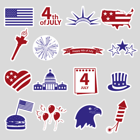 american independence day celebration stickes set eps10 Illustration