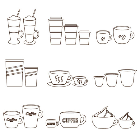 mocca: coffee cups and mugs sizes variations outline icons set eps10