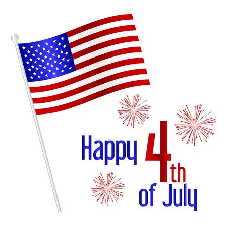 플래그와 함께 미국의 독립 기념일 축 하 일러스트