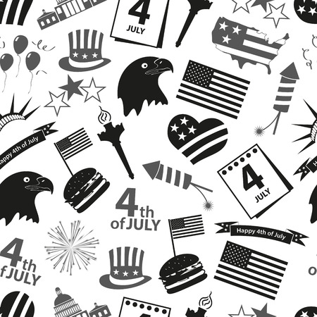 american independence day celebration icons seamless pattern  Illustration