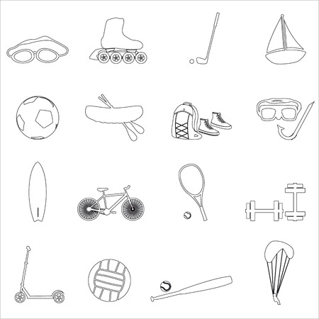 strengthening: summer sports and equipment outline icon set