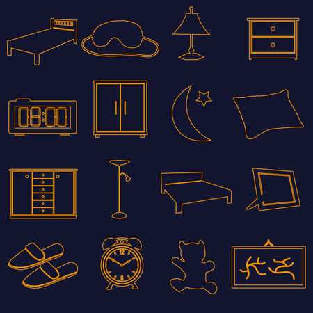 bedchamber: home bedroom outline simple icons set