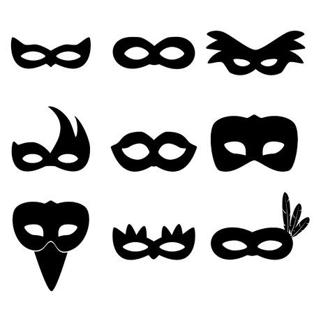 Carnaval de Río máscaras negras iconos simples fijaron