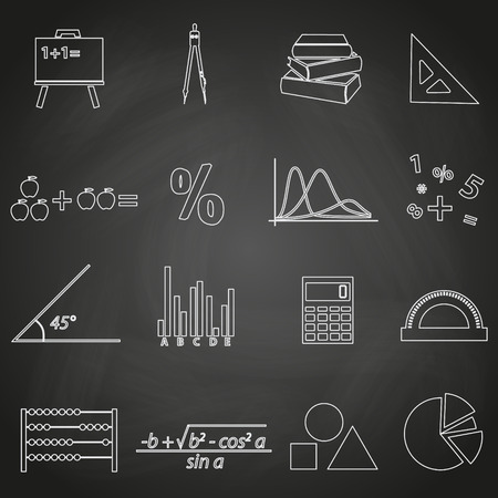 mathematics outline icons set on blackboard  Vector