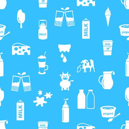 leche: leche y productos lácteos tema de iconos patrón transparente Vectores