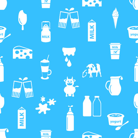 milk jugs: milk and milk product theme icons seamless pattern