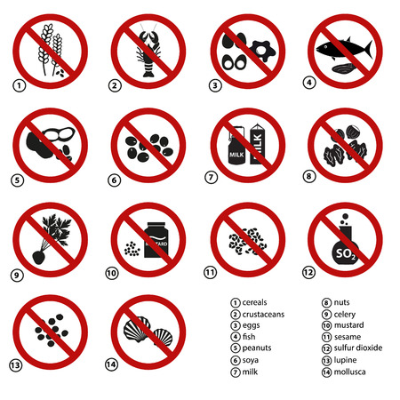 set of typical food generals prohibitions for restaurants and meal