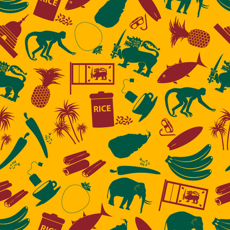 curry rice: Sri-lanka country symbols color seamless pattern  Illustration