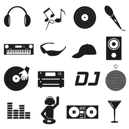 club dj: music club dj black simple icons set eps10