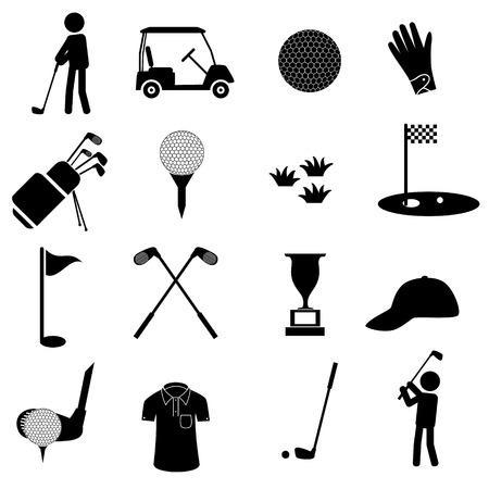 golfsport eenvoudige zwarte pictogrammen set eps10