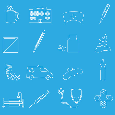 handkerchief: hospital and sick outline icons set eps10