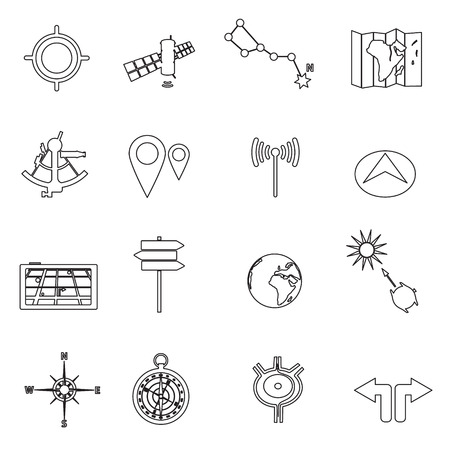 routing: navigation and travel outline icons set eps10 Illustration