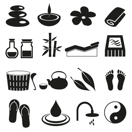 swimming candles: spa and relaxation simple black icons set eps10