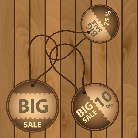 wooden circle: sale paper brown circle icons on wooden board eps10 Illustration