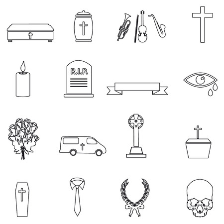 hearse: funeral simple black outline icons set eps10