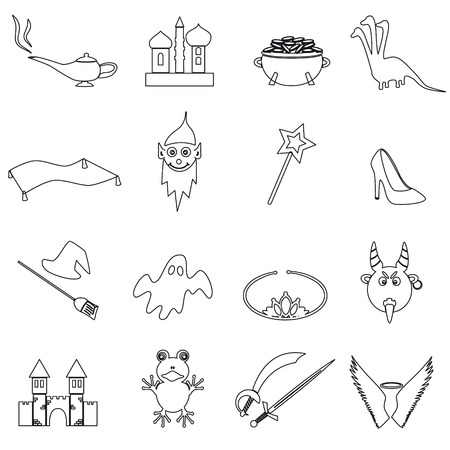 witchery: black simple fairy tales outline icons set eps10