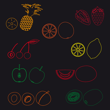 wallop: fruits and half fruits simple outline icons eps10 Illustration