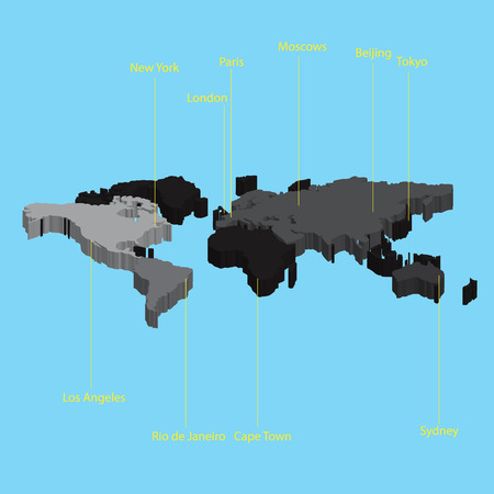 locations: 3d map of the world with city locations eps10 Illustration