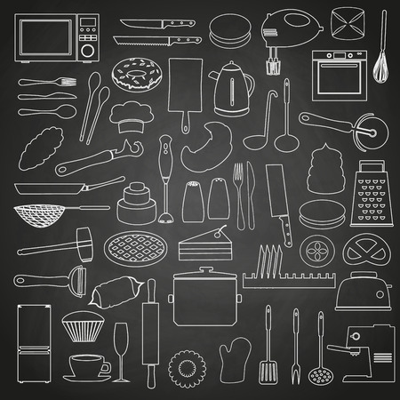 kitchen tools: home kitchen tools and food outline icon on blackboard eps10