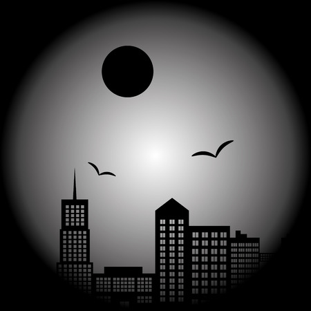 lanscape: dark city landscape in night with birds and moon eps10 Illustration