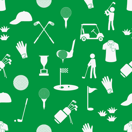 golf sport simple white and green seamless pattern eps10 Vector
