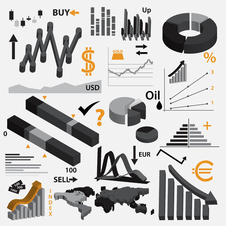 valorization: various infographics 3d graphs for your business or stock market eps10
