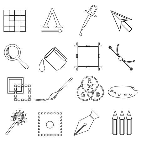 computer graphics: gr�ficos por ordenador contorno negro conjunto de iconos eps10 Vectores