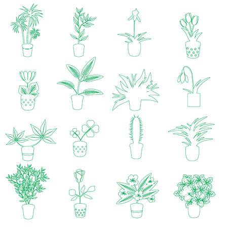 houseplants: home houseplants and flowers in pot outline icons eps10