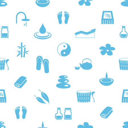 spa and relaxation simple blue and white seamless pattern  Vector