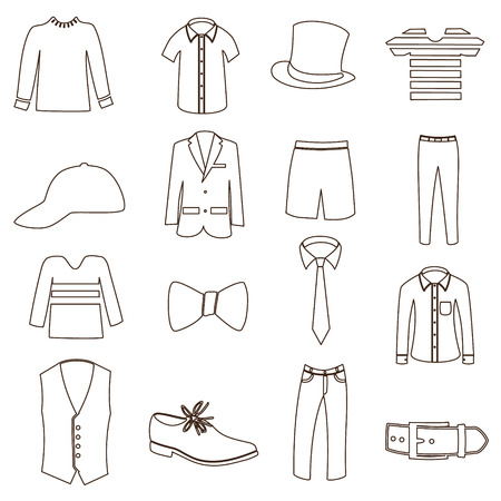 mens simple outline clothing icon set  Vector