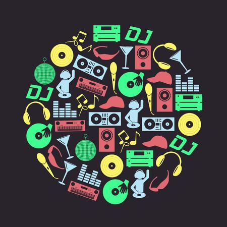 club dj: music club dj color icons set in circle