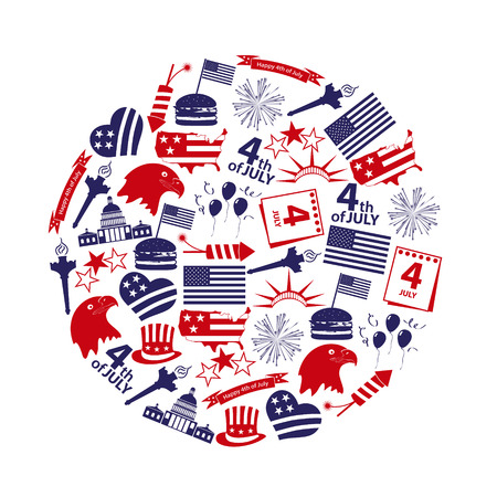 american independence day celebration icons in circle