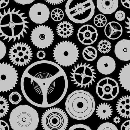 watch movement: various cogwheels parts of watch movement seamless gray pattern