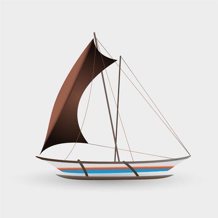 big boat: catamaran boat with big sail colorful graphics