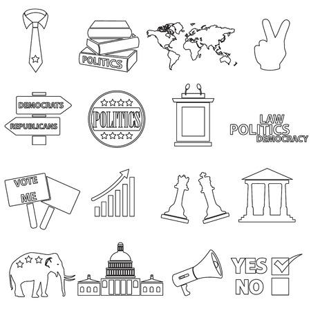 politics: politics black and red simple icons set
