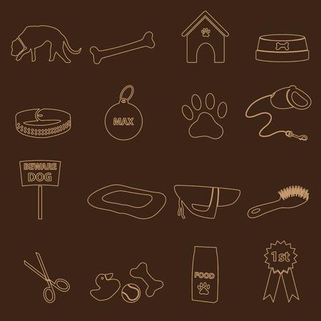 mamal: dog theme simple outline icons set