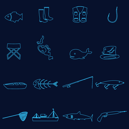 outline blue: simple outline blue fishing icons set
