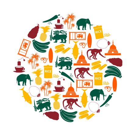 ceylon: Sri-lanka country symbols color icons in circle  Illustration