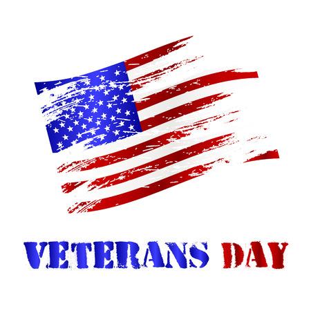 veterans day: american damaged flag and veterans day celebration