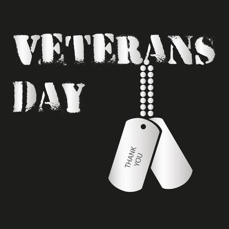 veterans: american veterans day celebration inscription with tags  Illustration