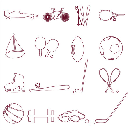 strengthening: various sport equipment and tools outline icons eps10
