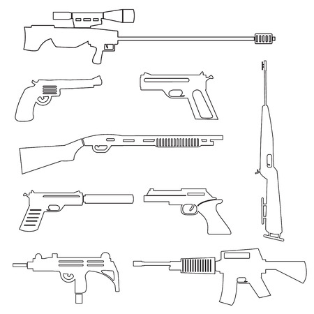 firearms: firearms weapons and guns outline icons eps10 Illustration