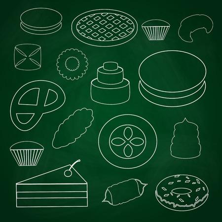 flan: sweet desserts outline icons on blackboard eps10