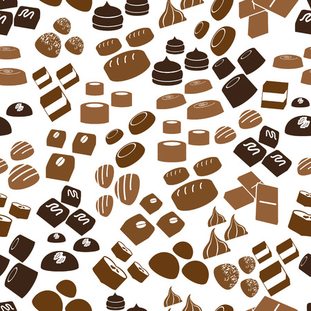 sweet chocolate truffles icons seamless brown pattern eps10 Ilustracja