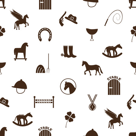 boot: brown simple horse theme icons seamless pattern eps10 Illustration