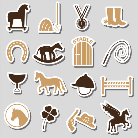 derby hats: brown simple horse theme stickers icons set  Illustration