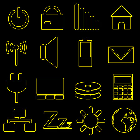indication: computer and laptop indication outline icons