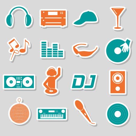 club dj: music club dj color simple stickers set eps10